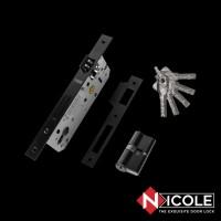Nicole Set Body Kunci 85x40 Silinder Kunci 60mm Hitam Doff / Black