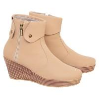 AEMRADO R23LA - Sepatu Boots Wanita Wedges Fashionable Modis - Cream