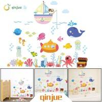 Stiker Dinding dengan Bahan Mudah Dilepas dan Gambar Ikan untuk