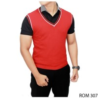 Baru Men Vest Fashion Rajut Merah ROM 307
