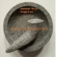 Cobek batu + ulekan diameter 16 cm murah