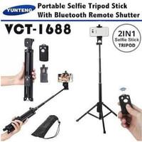Tongsis Bluetooth YUNTENG VCT-1688 Tripod 3 In 1 Selfie Stick VCT 1688