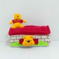 Tempat cover kotak box tissue tisu mobil toilet boneka pooh merah
