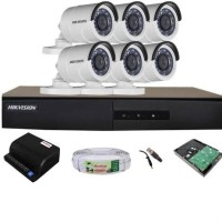 PAKET CCTV 8 CHANNEL HIKVISION 6 KAMERA OUTDOOR HIKVISION 720p 1.3mp