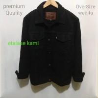 jaket jeans oversize wanita jaket over size bawah pinggang warna hitam