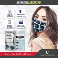 Masker Kain Katun Chandaka Collection-2 Lapis + Kantung Filter Motif
