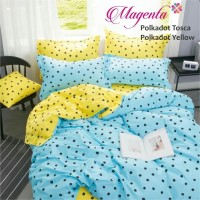 sprei single katun lokal super adem motif polkadot tosca yellow
