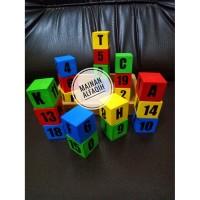 Mainan Edukasi Anak Balok Angka dan Huruf Warna Warni