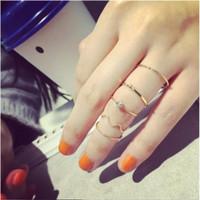 Cincin Emas / Perak J09 Wanita 5 Pc Set Korea Fashion Aksesoris Perhia
