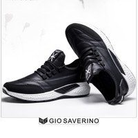 Sneakers Pria Gio Saverino MILFORD Top Fashion Sport Casual Shoes - BLACK WHITE, 39