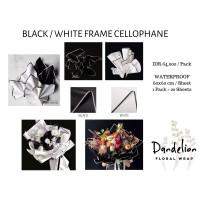 FLOWER WRAPPING BLACK WHITE CELLOPHANE KERTAS BUNGA