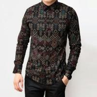 Baju Kemeja Batik Songket Pria Lengan Panjang Hitam Slimfit Casual - Hitam, M
