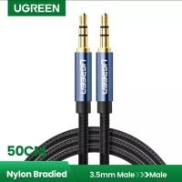 Ugreen Nylon Kabel Audio Jack 3.5 mm Extension 50 cm Kabel Aux 3.5mm