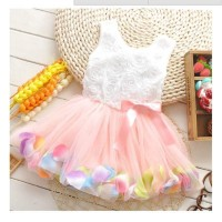 LKM123 Dress Tutu Anak Kids Girls Sleeveless Princess Party Lace Bow F