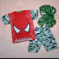 kaos setelan anak cowo karakter super hero usia 2-4 tahun