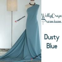 HijabersTex 1/2 Meter Kain WOLLYCREPE PREMIUM Dusty Blue