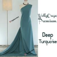 HijabersTex 1/2 Meter Kain WOLLYCREPE PREMIUM Deep Turquiose