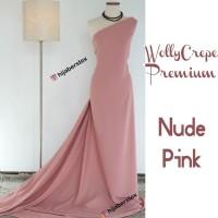 HijabersTex 1/2 Meter Kain WOLLYCREPE PREMIUM Nude Pink