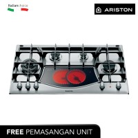 ARISTON Kompor Tanam 90 Cm PH941MSTV(IX),4 Pembakar Gas+Ceramic(GradeB