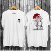 Kaos Putih Motif Samurai 1 / Baju Distro Pria Keren Grosir Murah