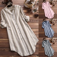 Seafeel Spring Autumn Striped Buttons Tunic Shirt Loose Top