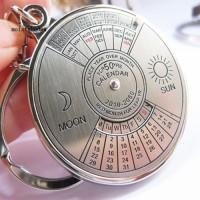 Silver Misd Gantungan Kunci Desain Kalender Perpetual 50 Tahun Bahan