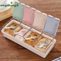 ♚any♚Convenient Plastic Wheat Straw Flip Drawer Type Spice Jar