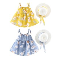 New Fashion Summer Girl Flowers Straw Hat+Bow Strap Princess Dress