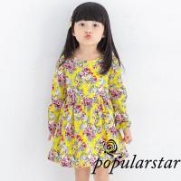 Star Dress Princess Lengan Panjang Motif Print Bunga untuk Bayi /