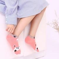 Aoli kaus kaki wanita cute animal pendek 137fse
