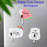 Papan Tulis Tempel Kulkas + Pen Message Board Memo Stiker Whiteboard