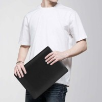 Tas Laptop Softcase Macbook SPULeather 14 inch hitam