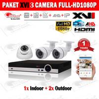 Paket Intent 3 CCTV Full-HD XVi 1080P Untuk Rumah Ruko Kantor Gudang - 1xIn 2xOut, Tanpa HDD