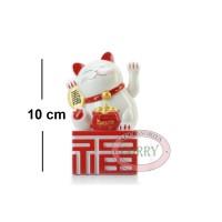 Patung Kucing Fu Maneki Neko 10 Cm Putih Merah Beruntung Lucky Cat