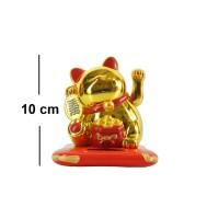 Patung Kucing Lucky Cat Maneki Neko 10 Cm Solar Emas Merah Beruntung