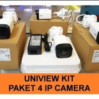 PAKET UNIVIEW 4 IP CAM / CCTV UNV KIT NVR POE 4CH 4 KAMERA 5 MP 1080P