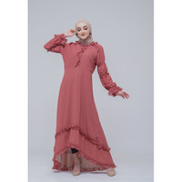 Hijab Ellysha SET WITH LEGGING ADELLE PROM PINGUIN RUFFLE DRESS CORAL