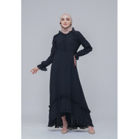 Hijab Ellysha SET WITH LEGGING ADELLE PROM PINGUIN RUFFLE DRESS BLACK
