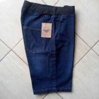 Celana pendek jeans lingkar pinggang karet pria