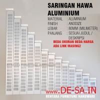 Ventilasi 8 x 50 Cm - Lubang Hawa Persegi Alumunium 80 x 500 mm