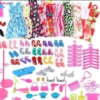 Paket 10 baju barbie 10 aksesoris barbie 10 sepatu barbie