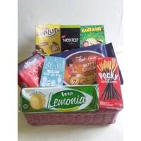 Parcel Pekanbaru Parcel Lebaran Pink Basket Mini Hampers