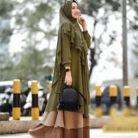 Baju Gamis Wanita Syari Terbaru Set Hijab Khimar Pesta Jumbo Busui