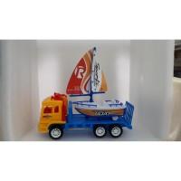 Mainan Anak Mobil Truck Trailer + Perahu