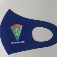 Masker Korea Bahan Kain Scuba Biru Logo PM TNI L