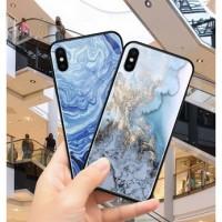 Case Pelindung Bahan Tempered Glass Motif Marmer Untuk Xiaomi 8 8 S TG