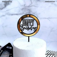Birthday Acrylic Cake Topper Gold Circle Double Layer Cupcake Top