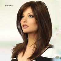 Wig / Rambut Palsu Wanita Model Panjang Lurus Warna Coklat Tua Ta