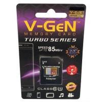 Micro Sd Memory card memori hp V-GeN 8gb Turbo Class 10 + Adapter