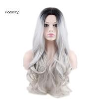 Wig / Rambut Palsu Wanita Model Panjang Keriting Tahan Panas Warn